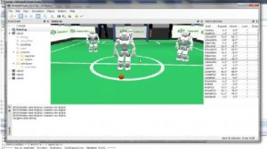 Computer generated image of Nao robots playing football