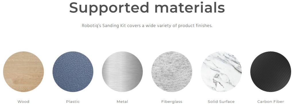 Robotiq Sanding Kit - Supported materials
