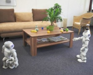Nao robots interacting and negotiating obstacles