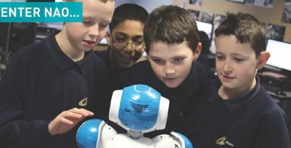 Etone school boys interact with Nao