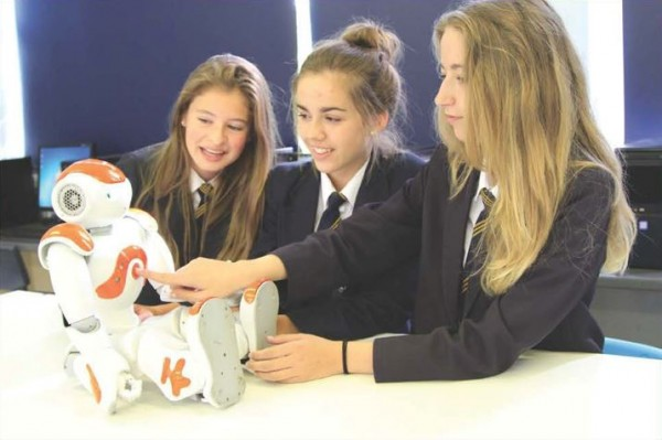 Henley-in-arden school girls with nao robot
