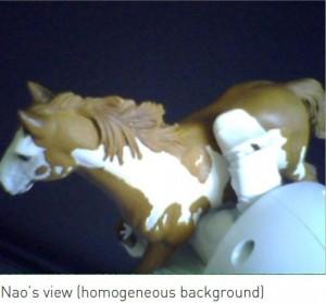 Nao robot holding a toy horse