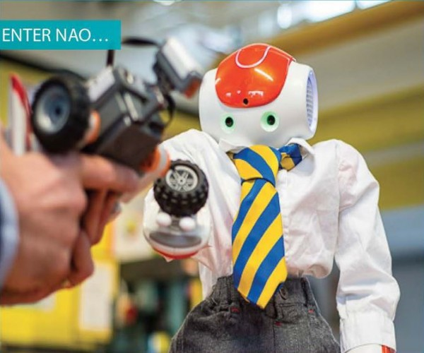 Nao robot in Kingsbury High School Uniform