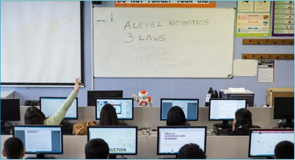 Nao delivering a lesson at Kingsbury High School